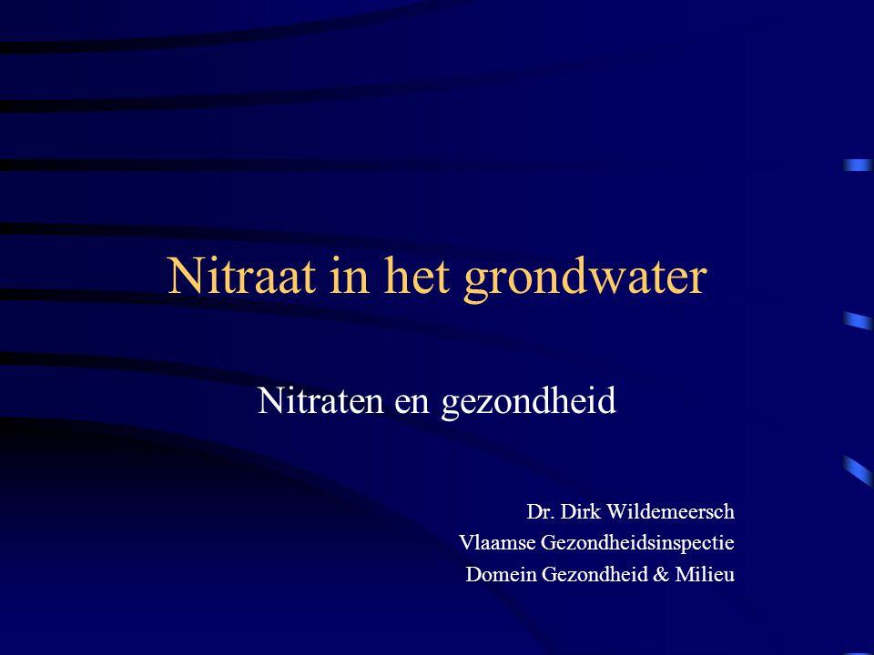 Nitraat in het grondwater Nitraten en gezondheid Dr. Dirk Wildemeersch Vlaamse Gezondheidsinspectie Domein Gezondheid & Milieu