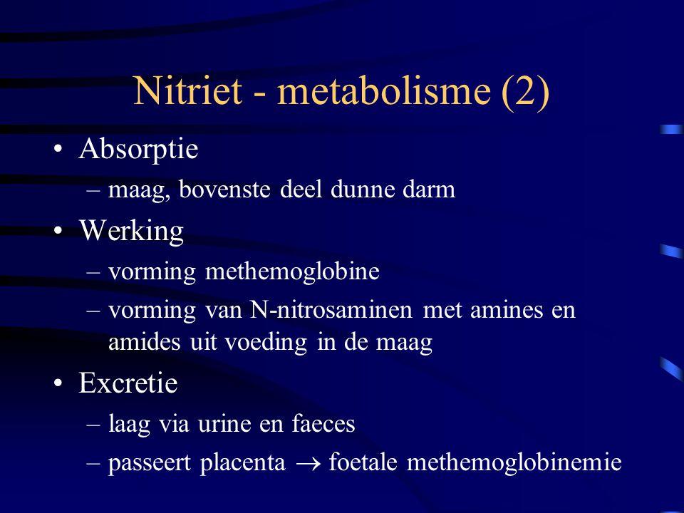 Nitriet - metabolisme (2) Absorptie –maag, bovenste deel dunne darm Werking –vorming methemoglobine –vorming van N-nitrosaminen met amines en amides u