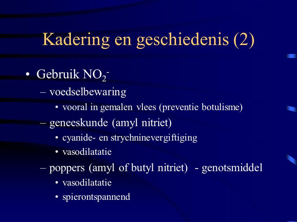 Kadering en geschiedenis (2) Gebruik NO 2 - –voedselbewaring vooral in gemalen vlees (preventie botulisme) –geneeskunde (amyl nitriet) cyanide- en str