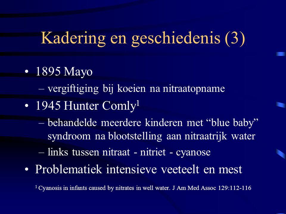 """Kadering en geschiedenis (3) 1895 Mayo –vergiftiging bij koeien na nitraatopname 1945 Hunter Comly 1 –behandelde meerdere kinderen met """"blue baby"""" syn"""