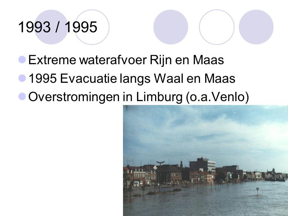 1993 / 1995 Extreme waterafvoer Rijn en Maas 1995 Evacuatie langs Waal en Maas Overstromingen in Limburg (o.a.Venlo)