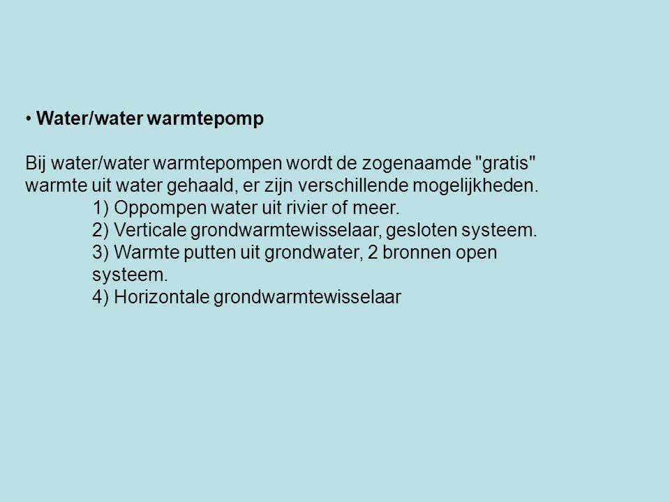 Water/water warmtepomp Bij water/water warmtepompen wordt de zogenaamde
