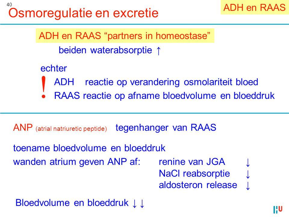 40 Osmoregulatie en excretie beiden waterabsorptie ↑ echter ADH reactie op verandering osmolariteit bloed RAAS reactie op afname bloedvolume en bloedd