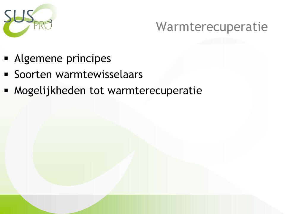 Warmterecuperatie  Algemene principes  Soorten warmtewisselaars  Mogelijkheden tot warmterecuperatie
