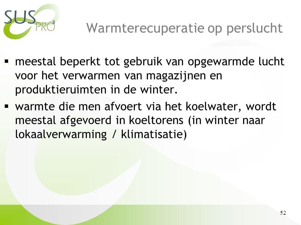 52 Warmterecuperatie op perslucht  meestal beperkt tot gebruik van opgewarmde lucht voor het verwarmen van magazijnen en produktieruimten in de winter.