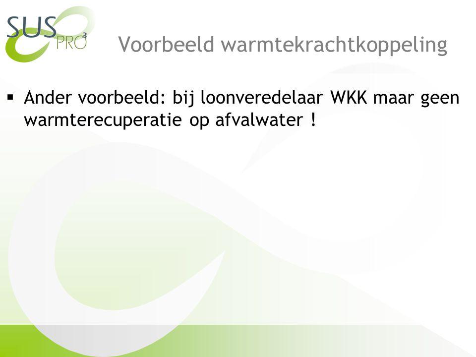 Voorbeeld warmtekrachtkoppeling  Ander voorbeeld: bij loonveredelaar WKK maar geen warmterecuperatie op afvalwater !