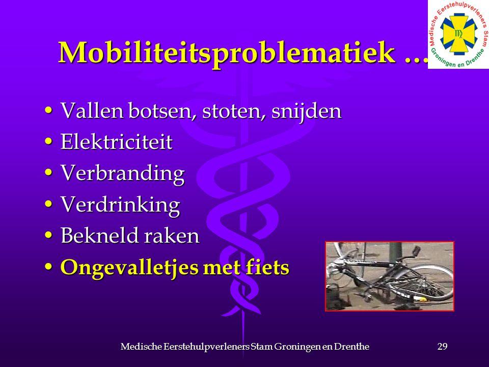Mobiliteitsproblematiek … Vallen botsen, stoten, snijdenVallen botsen, stoten, snijden ElektriciteitElektriciteit VerbrandingVerbranding VerdrinkingVerdrinking Bekneld rakenBekneld raken Ongevalletjes met fiets Ongevalletjes met fiets 29Medische Eerstehulpverleners Stam Groningen en Drenthe