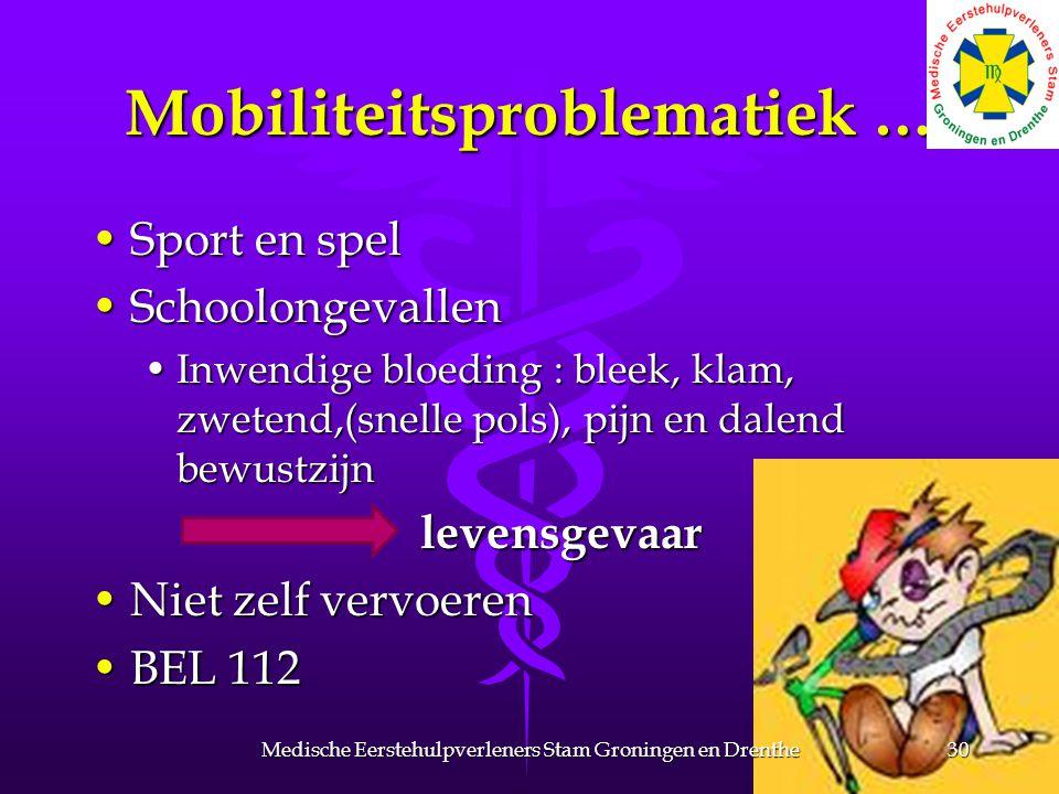 Mobiliteitsproblematiek … Sport en spelSport en spel SchoolongevallenSchoolongevallen Inwendige bloeding : bleek, klam, zwetend,(snelle pols), pijn en
