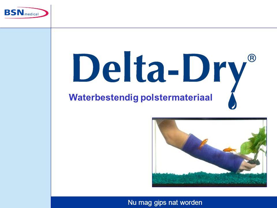Nu mag gips nat worden Delta-Dry is geschikt voor het waterbestendig polsteren onder elk soort gipsverband.