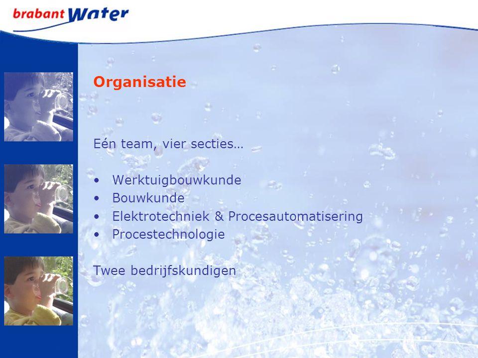 Organisatie Eén team, vier secties… Werktuigbouwkunde Bouwkunde Elektrotechniek & Procesautomatisering Procestechnologie Twee bedrijfskundigen