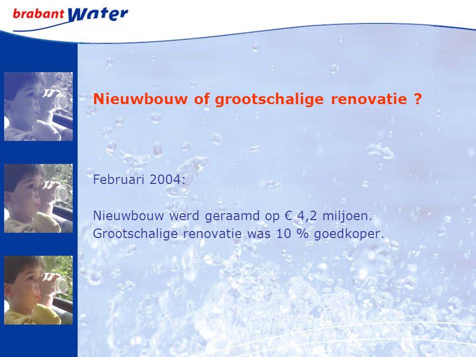 Nieuwbouw of grootschalige renovatie ? Februari 2004: Nieuwbouw werd geraamd op € 4,2 miljoen. Grootschalige renovatie was 10 % goedkoper.