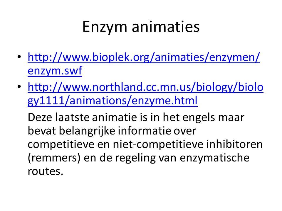 Enzym animaties http://www.bioplek.org/animaties/enzymen/ enzym.swf http://www.bioplek.org/animaties/enzymen/ enzym.swf http://www.northland.cc.mn.us/biology/biolo gy1111/animations/enzyme.html http://www.northland.cc.mn.us/biology/biolo gy1111/animations/enzyme.html Deze laatste animatie is in het engels maar bevat belangrijke informatie over competitieve en niet-competitieve inhibitoren (remmers) en de regeling van enzymatische routes.