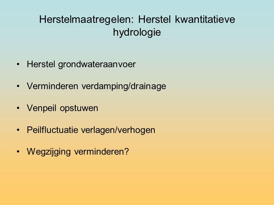 Herstelmaatregelen: Herstel kwantitatieve hydrologie Herstel grondwateraanvoer Verminderen verdamping/drainage Venpeil opstuwen Peilfluctuatie verlagen/verhogen Wegzijging verminderen?