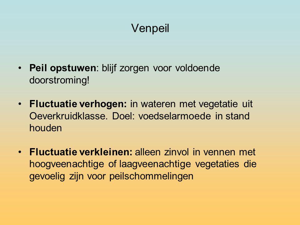 Venpeil Peil opstuwen: blijf zorgen voor voldoende doorstroming.