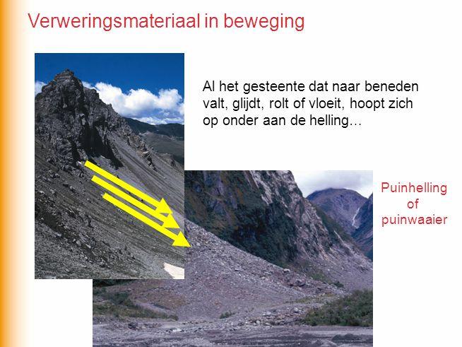Al het gesteente dat naar beneden valt, glijdt, rolt of vloeit, hoopt zich op onder aan de helling… Puinhelling of puinwaaier Verweringsmateriaal in b