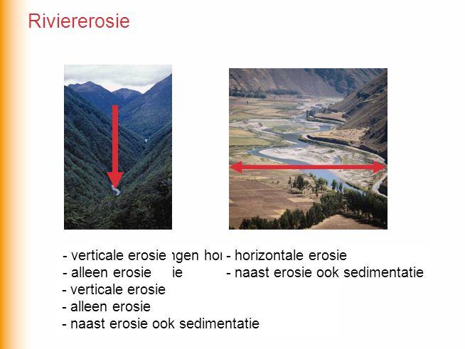 Welke omschrijvingen horen bij welke foto? - horizontale erosie - verticale erosie - alleen erosie - naast erosie ook sedimentatie - horizontale erosi