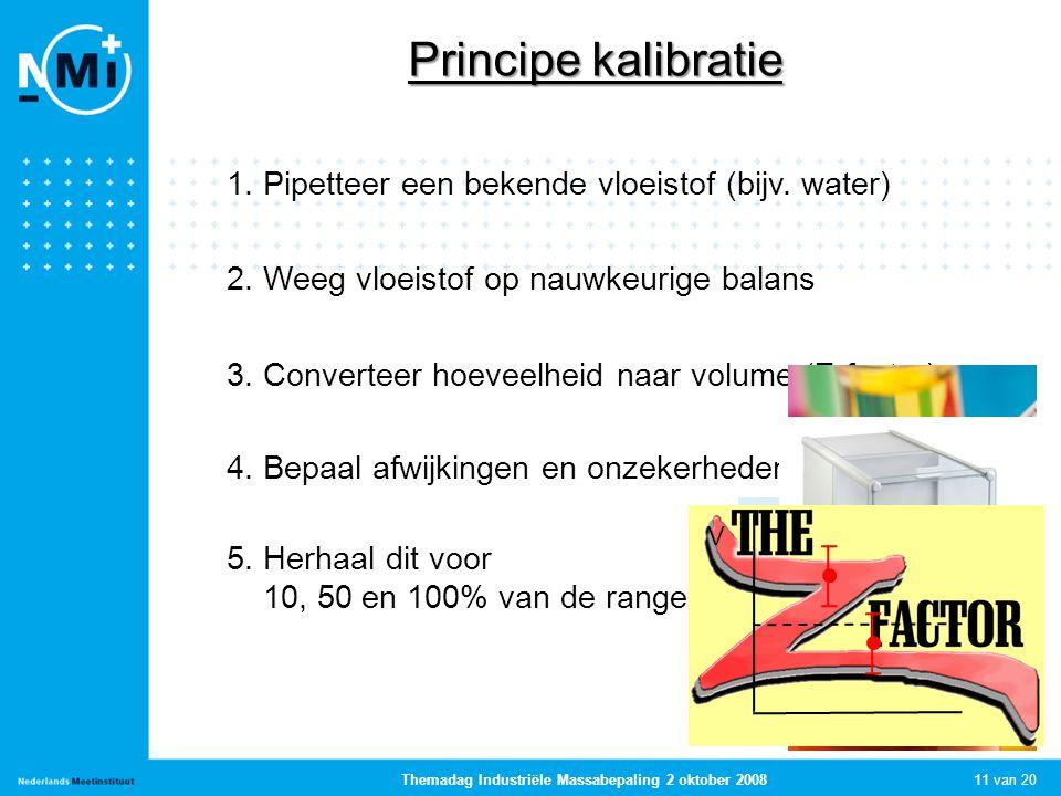 11 van 20 Themadag Industriële Massabepaling 2 oktober 2008 Principe kalibratie 1. Pipetteer een bekende vloeistof (bijv. water) 2. Weeg vloeistof op