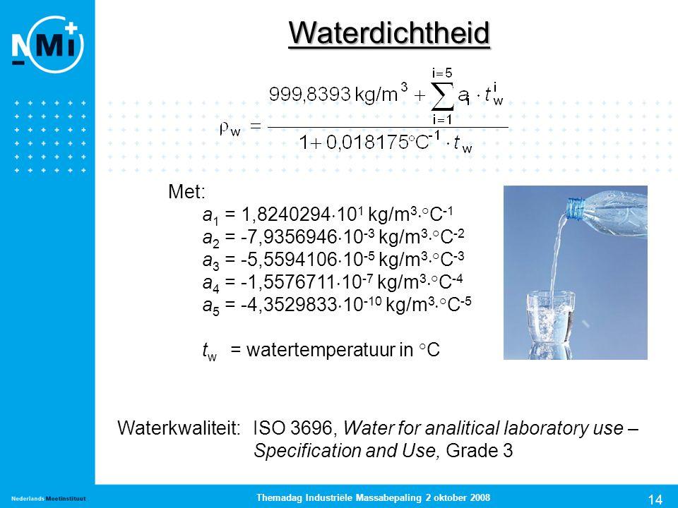 14 Themadag Industriële Massabepaling 2 oktober 2008 Waterdichtheid Met: a 1 = 1,8240294  10 1 kg/m 3  °C -1 a 2 = -7,9356946  10 -3 kg/m 3  °C -2
