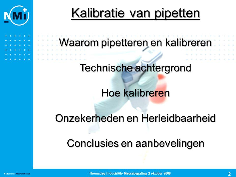 2 Themadag Industriële Massabepaling 2 oktober 2008 Kalibratie van pipetten Waarom pipetteren en kalibreren Technische achtergrond Hoe kalibreren Onze