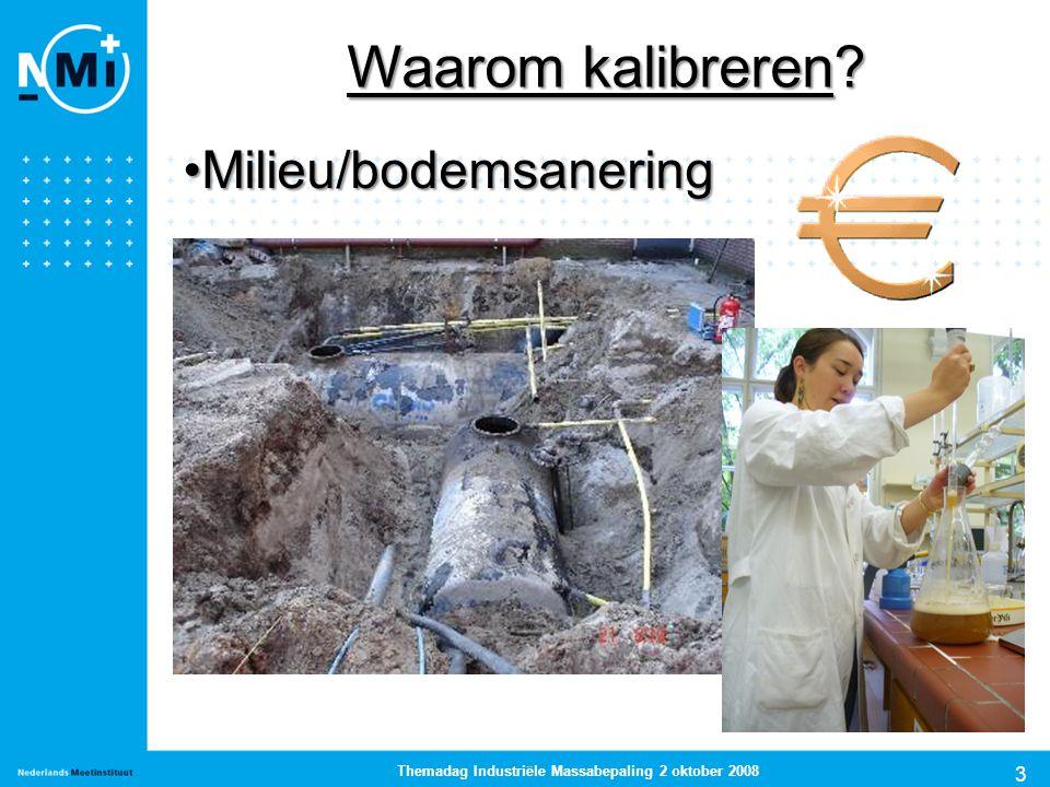 3 Themadag Industriële Massabepaling 2 oktober 2008 Milieu/bodemsaneringMilieu/bodemsanering Waarom kalibreren?