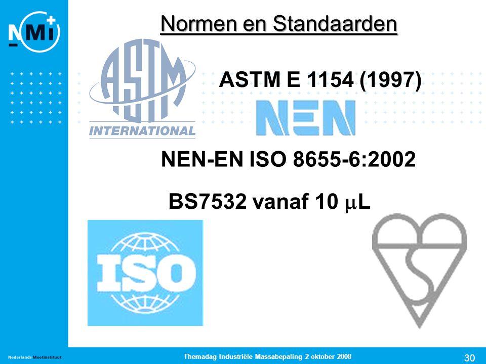 30 Themadag Industriële Massabepaling 2 oktober 2008 Normen en Standaarden ASTM E 1154 (1997) NEN-EN ISO 8655-6:2002 BS7532 vanaf 10  L
