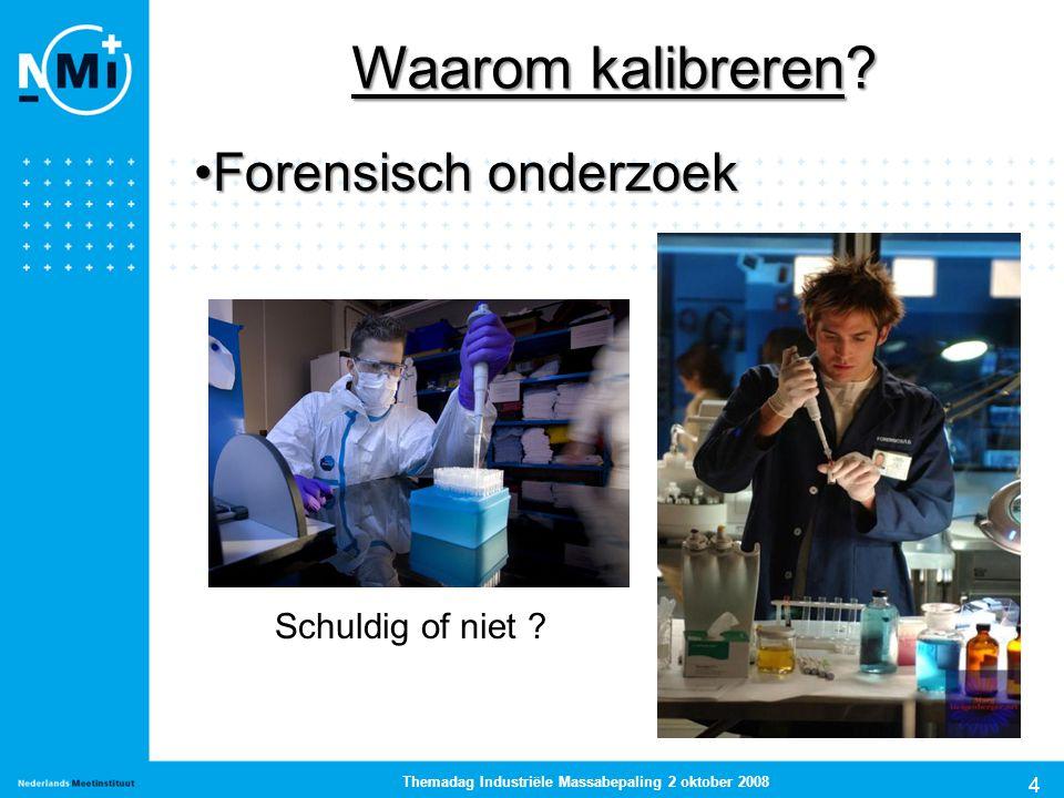 4 Themadag Industriële Massabepaling 2 oktober 2008 Forensisch onderzoekForensisch onderzoek Waarom kalibreren? Schuldig of niet ?