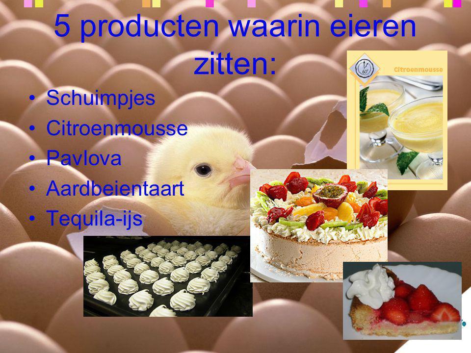 5 producten waarin eieren zitten: Schuimpjes Citroenmousse Pavlova Aardbeientaart Tequila-ijs
