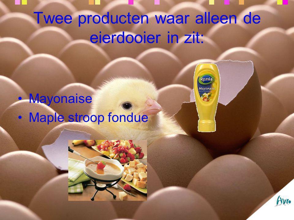 Twee producten waar alleen de eierdooier in zit: Mayonaise Maple stroop fondue