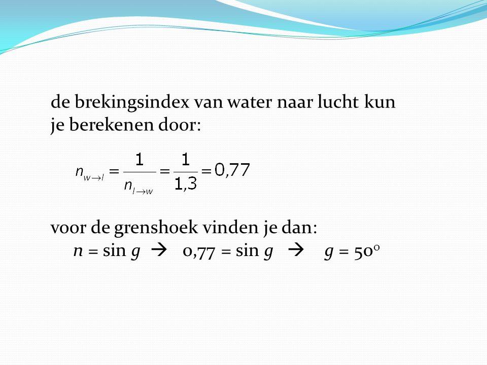 voor de grenshoek vinden je dan: n = sin g  0,77 = sin g  g = 50 0 de brekingsindex van water naar lucht kun je berekenen door: