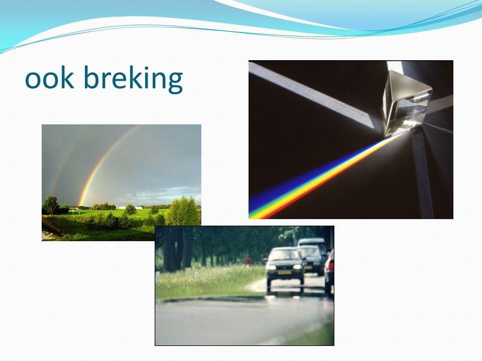 Theorie Licht breekt op het scheidingsvlak van twee doorzichtige stoffen.
