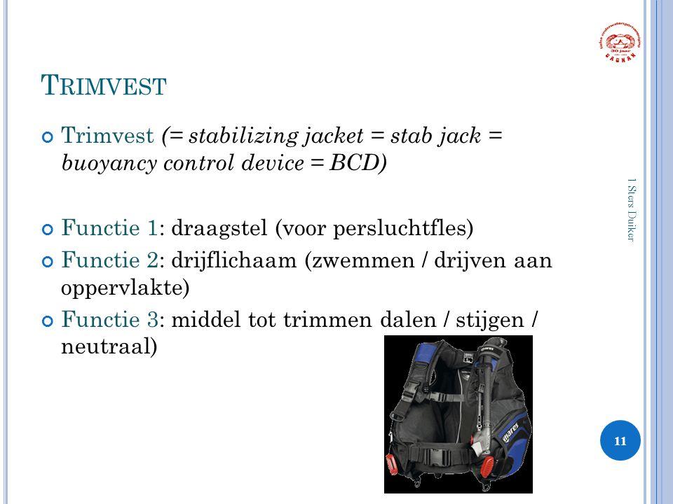 T RIMVEST Trimvest (= stabilizing jacket = stab jack = buoyancy control device = BCD) Functie 1: draagstel (voor persluchtfles) Functie 2: drijflichaam (zwemmen / drijven aan oppervlakte) Functie 3: middel tot trimmen dalen / stijgen / neutraal) 11 1 Sters Duiker