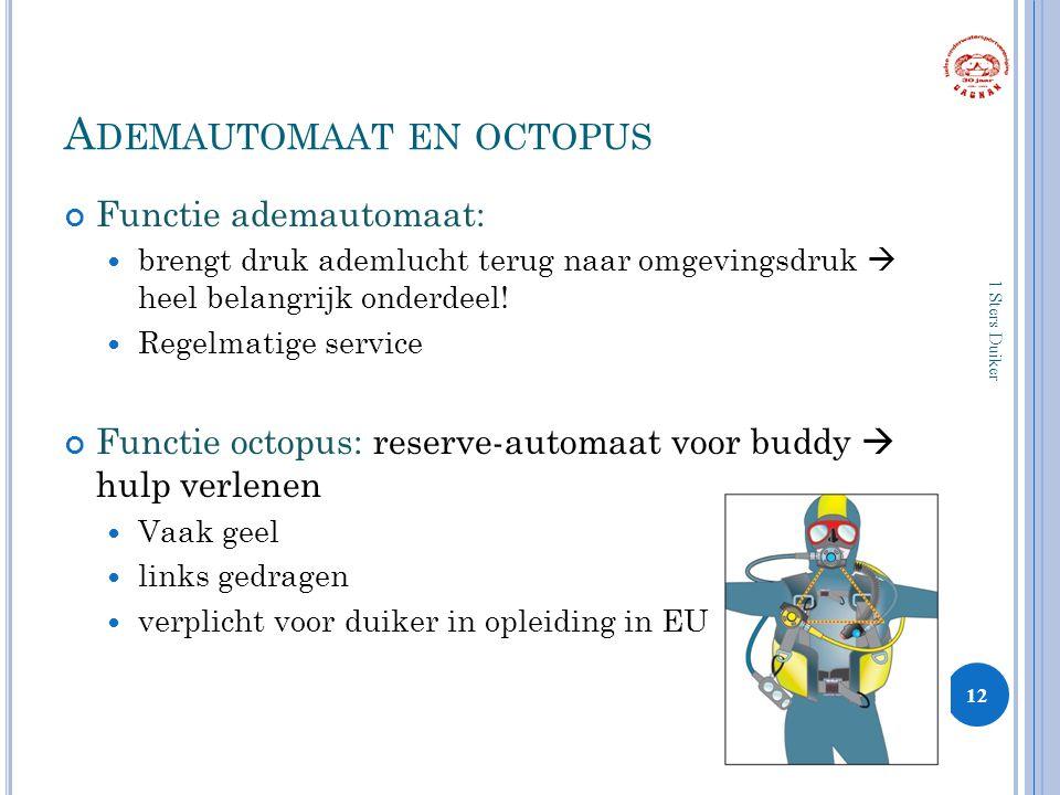 A DEMAUTOMAAT EN OCTOPUS Functie ademautomaat: brengt druk ademlucht terug naar omgevingsdruk  heel belangrijk onderdeel.