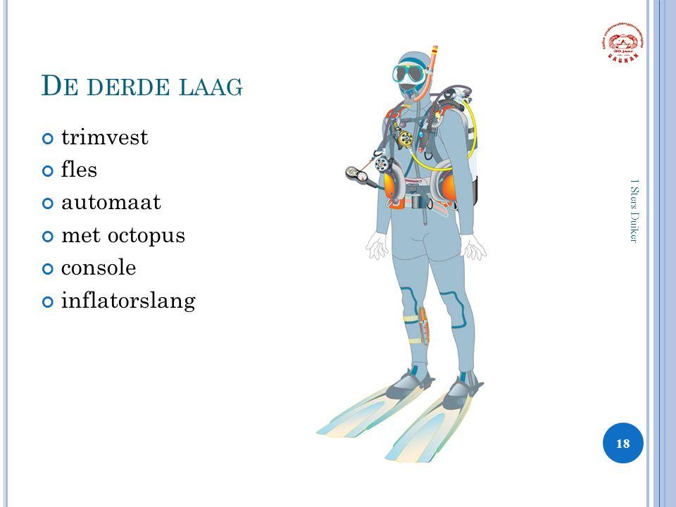 D E DERDE LAAG trimvest fles automaat met octopus console inflatorslang 18 1 Sters Duiker