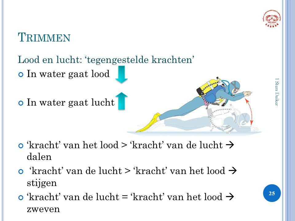 T RIMMEN Lood en lucht: 'tegengestelde krachten' In water gaat lood In water gaat lucht 'kracht' van het lood > 'kracht' van de lucht  dalen 'kracht' van de lucht > 'kracht' van het lood  stijgen 'kracht' van de lucht = 'kracht' van het lood  zweven 25 1 Sters Duiker