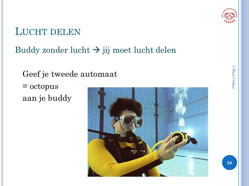 L UCHT DELEN Buddy zonder lucht  jij moet lucht delen Geef je tweede automaat = octopus aan je buddy 26 1 Sters Duiker