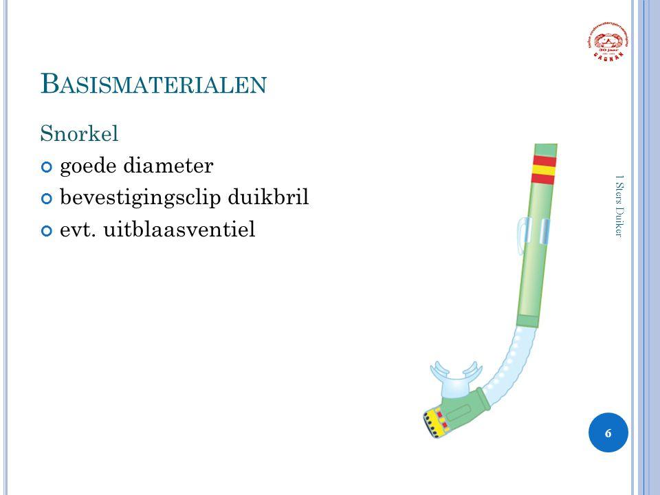 B ASISMATERIALEN Snorkel goede diameter bevestigingsclip duikbril evt.