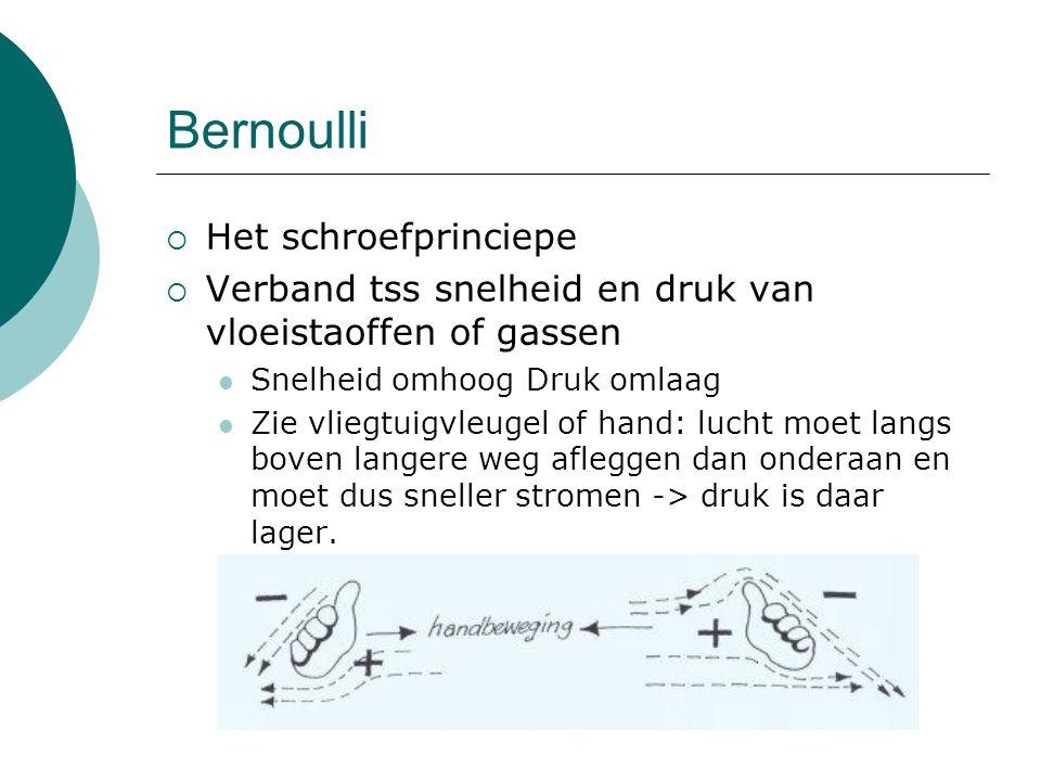 Bernoulli  Het schroefprinciepe  Verband tss snelheid en druk van vloeistaoffen of gassen Snelheid omhoog Druk omlaag Zie vliegtuigvleugel of hand:
