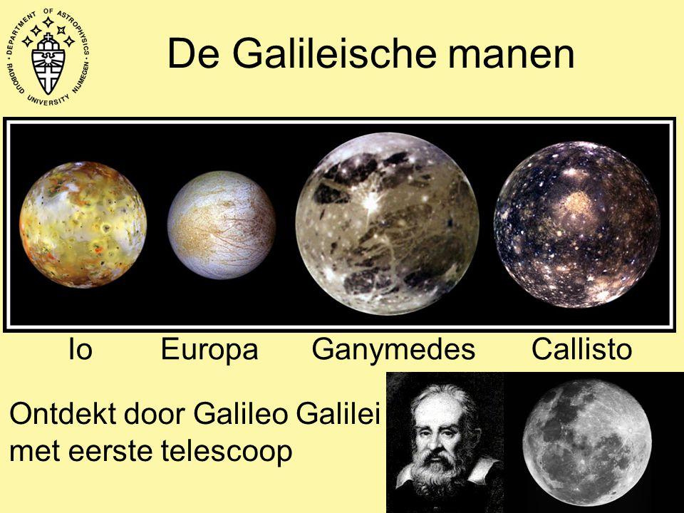 De Galileische manen Ontdekt door Galileo Galilei met eerste telescoop IoEuropaGanymedesCallisto