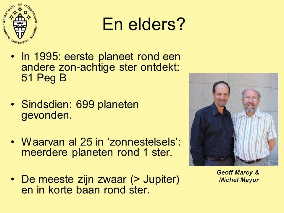 En elders? In 1995: eerste planeet rond een andere zon-achtige ster ontdekt: 51 Peg B Sindsdien: 699 planeten gevonden. Waarvan al 25 in 'zonnestelsel