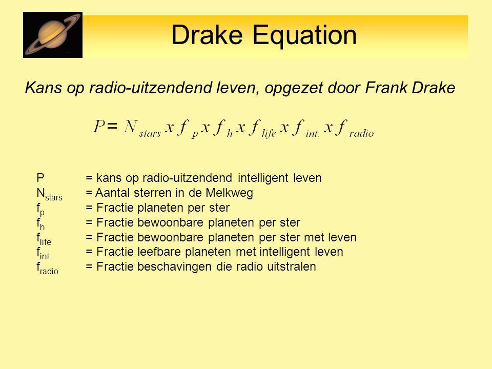 Drake Equation Kans op radio-uitzendend leven, opgezet door Frank Drake P = kans op radio-uitzendend intelligent leven N stars = Aantal sterren in de