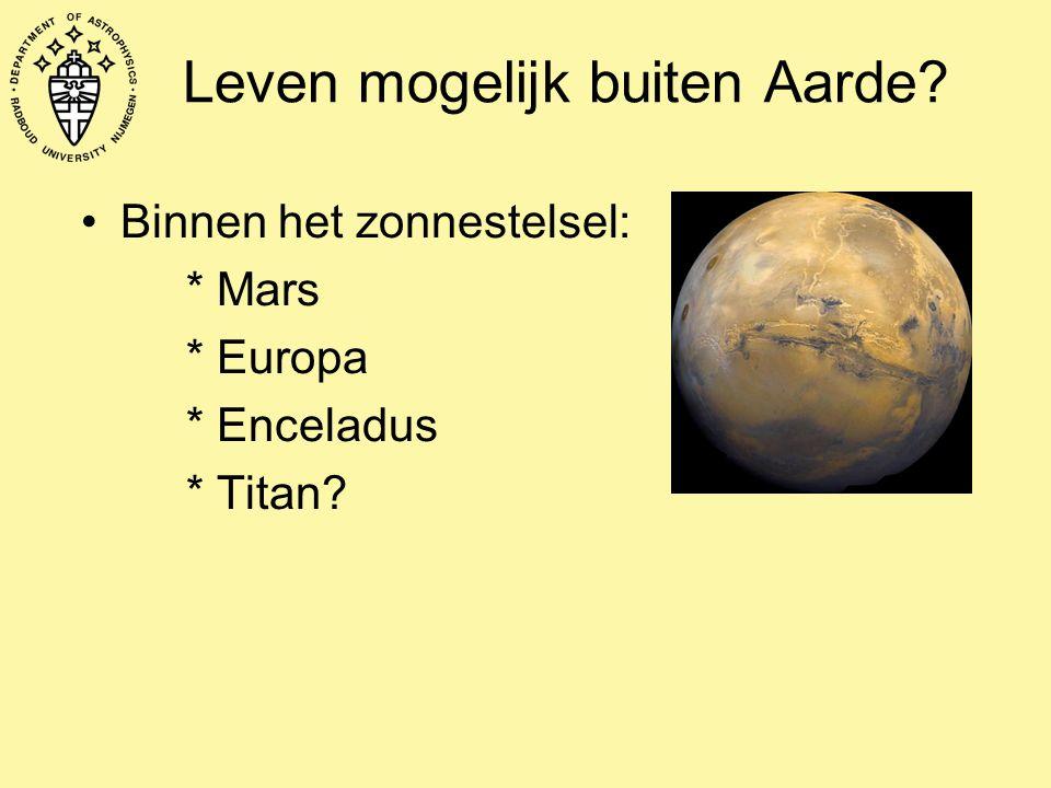 Leven mogelijk buiten Aarde? Binnen het zonnestelsel: * Mars * Europa * Enceladus * Titan?