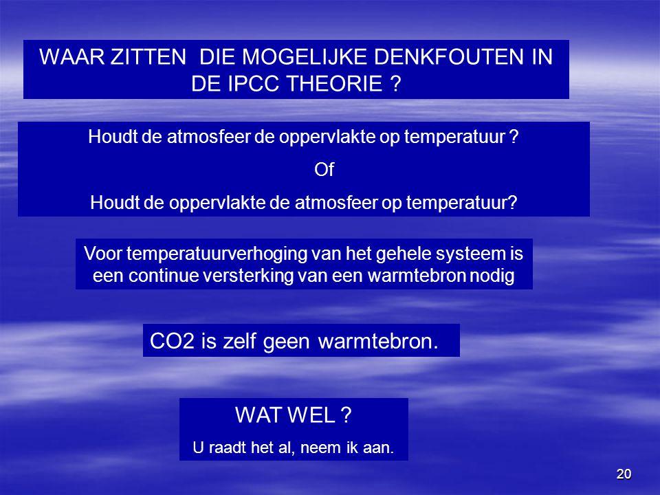 20 WAAR ZITTEN DIE MOGELIJKE DENKFOUTEN IN DE IPCC THEORIE ? Houdt de atmosfeer de oppervlakte op temperatuur ? Of Houdt de oppervlakte de atmosfeer o