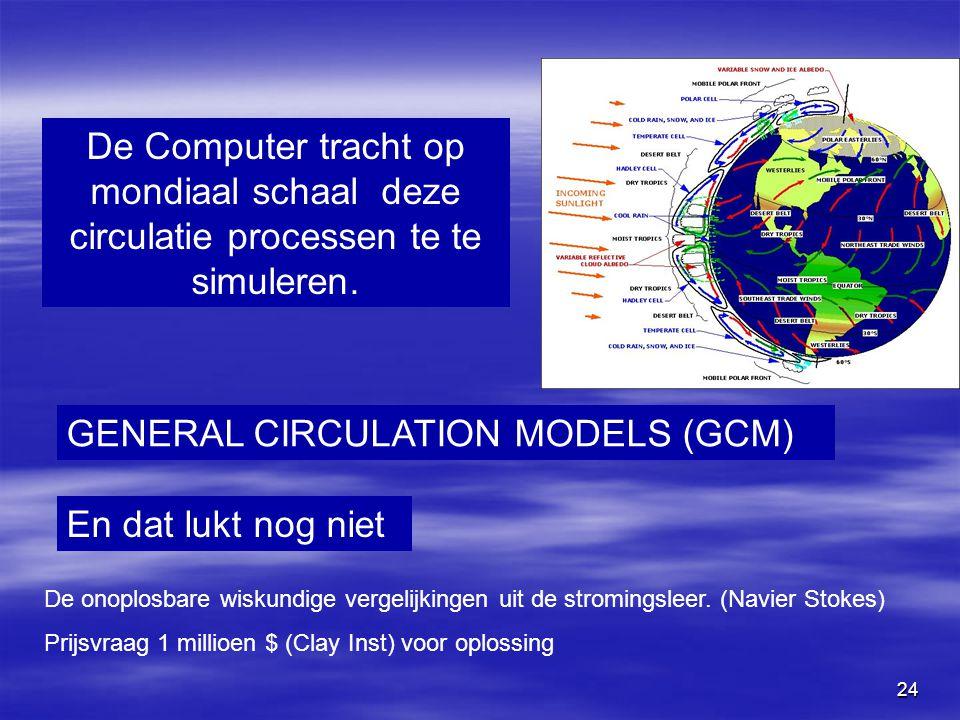 24 De Computer tracht op mondiaal schaal deze circulatie processen te te simuleren. GENERAL CIRCULATION MODELS (GCM) En dat lukt nog niet De onoplosba