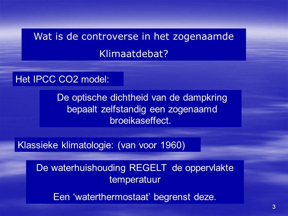 3 Wat is de controverse in het zogenaamde Klimaatdebat? De waterhuishouding REGELT de oppervlakte temperatuur Een 'waterthermostaat' begrenst deze. He