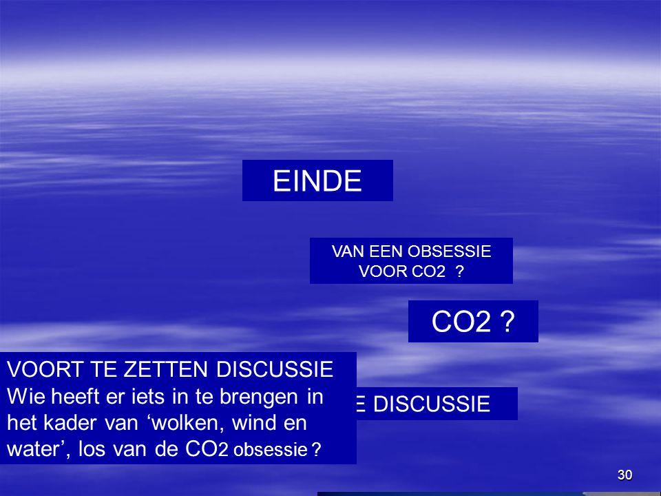 30 EINDE VAN EEN OBSESSIE VOOR CO2 ? CO2 ? MAAR NIET AAN DE DISCUSSIE WOLKEN ? VOORT TE ZETTEN DISCUSSIE Wie heeft er iets in te brengen in het kader