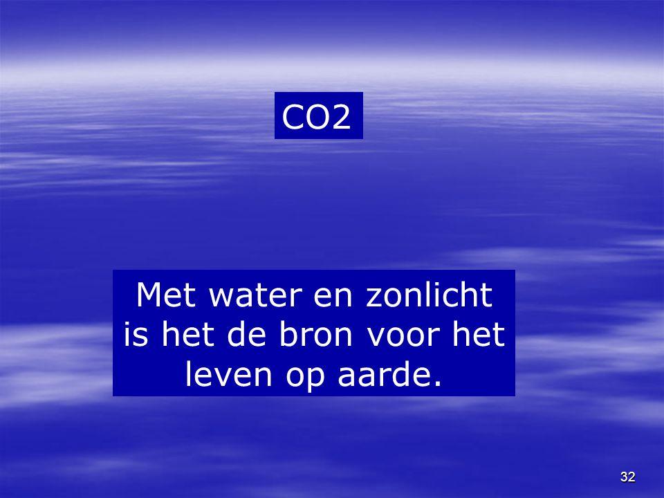 32 CO2 Met water en zonlicht is het de bron voor het leven op aarde.