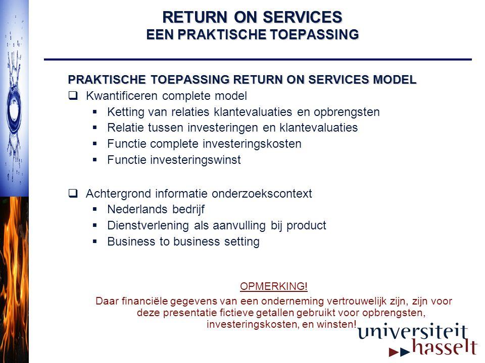 RETURN ON SERVICES EEN PRAKTISCHE TOEPASSING PRAKTISCHE TOEPASSING RETURN ON SERVICES MODEL  Kwantificeren complete model  Ketting van relaties klan