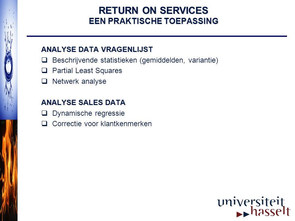 RETURN ON SERVICES EEN PRAKTISCHE TOEPASSING ANALYSE DATA VRAGENLIJST  Beschrijvende statistieken (gemiddelden, variantie)  Partial Least Squares 