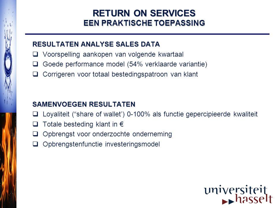 RETURN ON SERVICES EEN PRAKTISCHE TOEPASSING RESULTATEN ANALYSE SALES DATA  Voorspelling aankopen van volgende kwartaal  Goede performance model (54