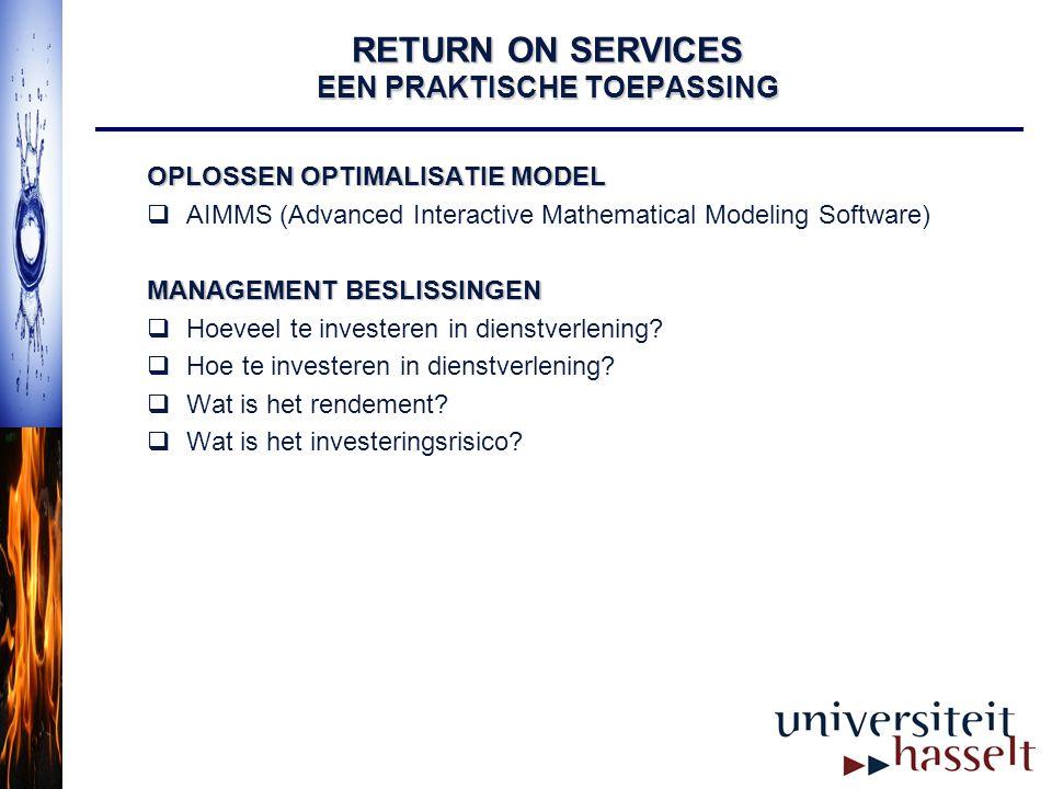 RETURN ON SERVICES EEN PRAKTISCHE TOEPASSING OPLOSSEN OPTIMALISATIE MODEL  AIMMS (Advanced Interactive Mathematical Modeling Software) MANAGEMENT BES